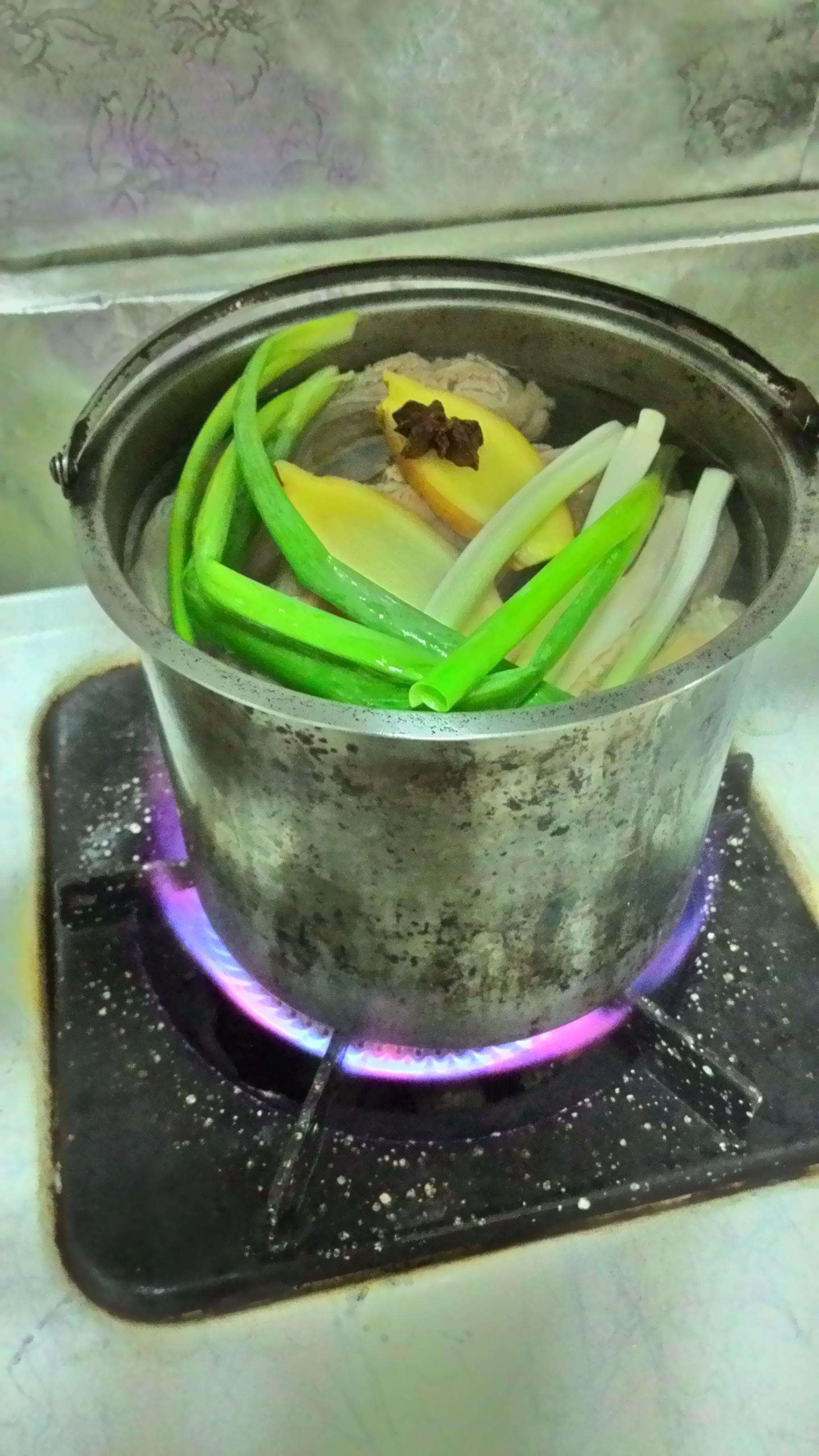 加入蔥、薑、八角一起煮。
