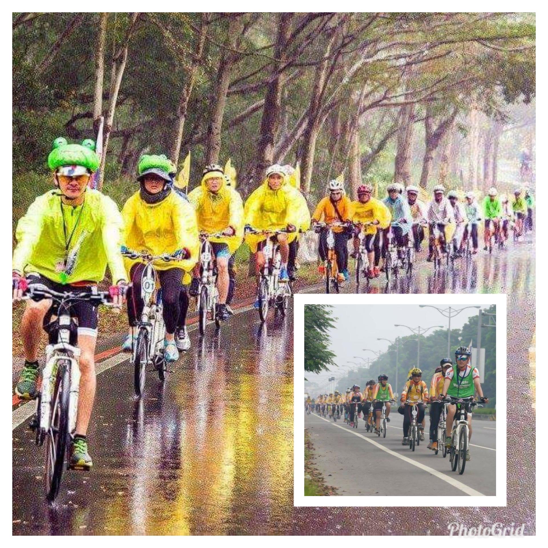 劉維璽(前一)是展翼協力車隊志工,不管天晴天雨,都可以看到整齊劃一的隊形。