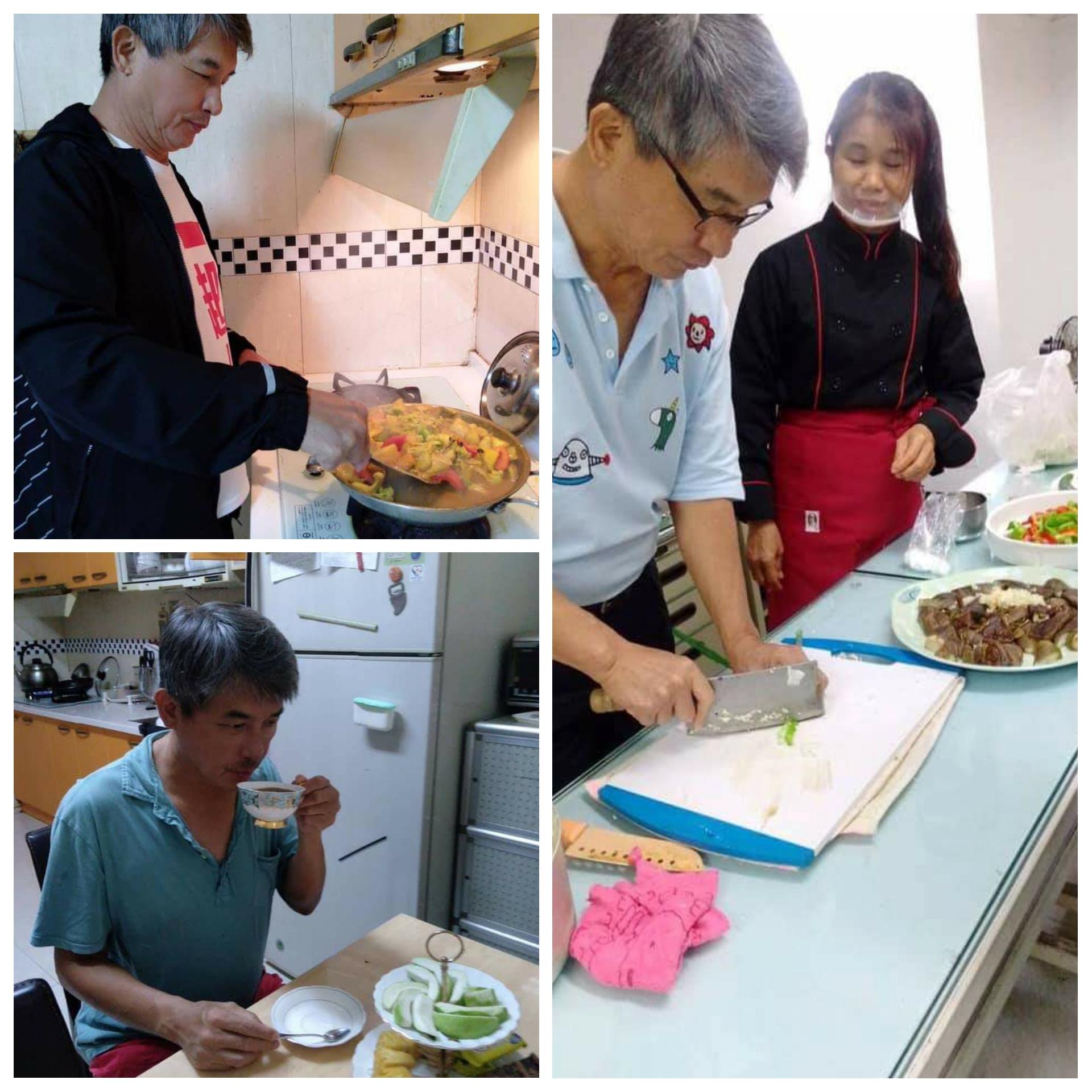 失明後,朱正國學習獨立料理三餐。